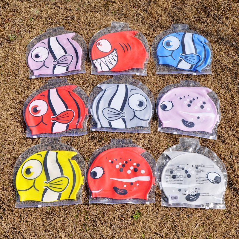 New 2016 Swimming Cap Lovely Cute Children Cartoon Silicon Diving Waterproof Fish Shark Pattern top pool products(China (Mainland))