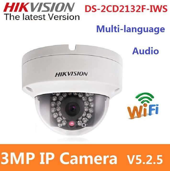 original hikvision ds 2cd2132f iws v5 2 5 en version wireless wifi network mini dome ip camera. Black Bedroom Furniture Sets. Home Design Ideas