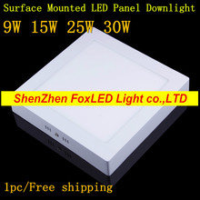 9w 15w 25w 30w Ceiling Surface Mounted led Downlight Square Panel light Ultra thin Ceiling Lamp Kitchen Room light Dimmable (China (Mainland))