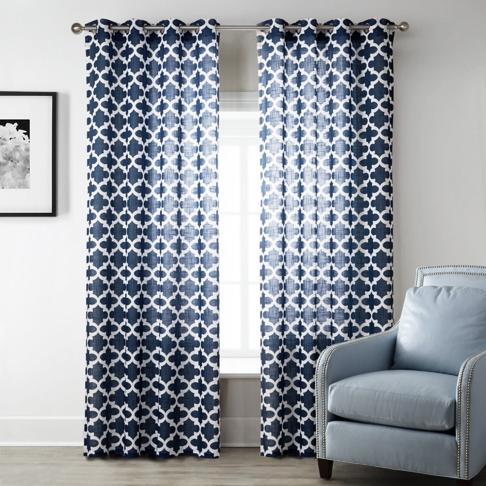 Blue modern style bedroom curtains printed geometric for Living room ideas blue curtains