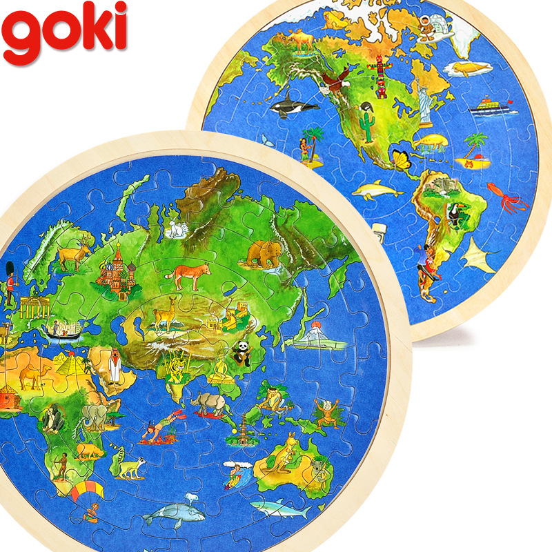 57pcs 30*30CM Wooden World Map 3D Puzzles For Children Education Learning Toy Gift For Travellers