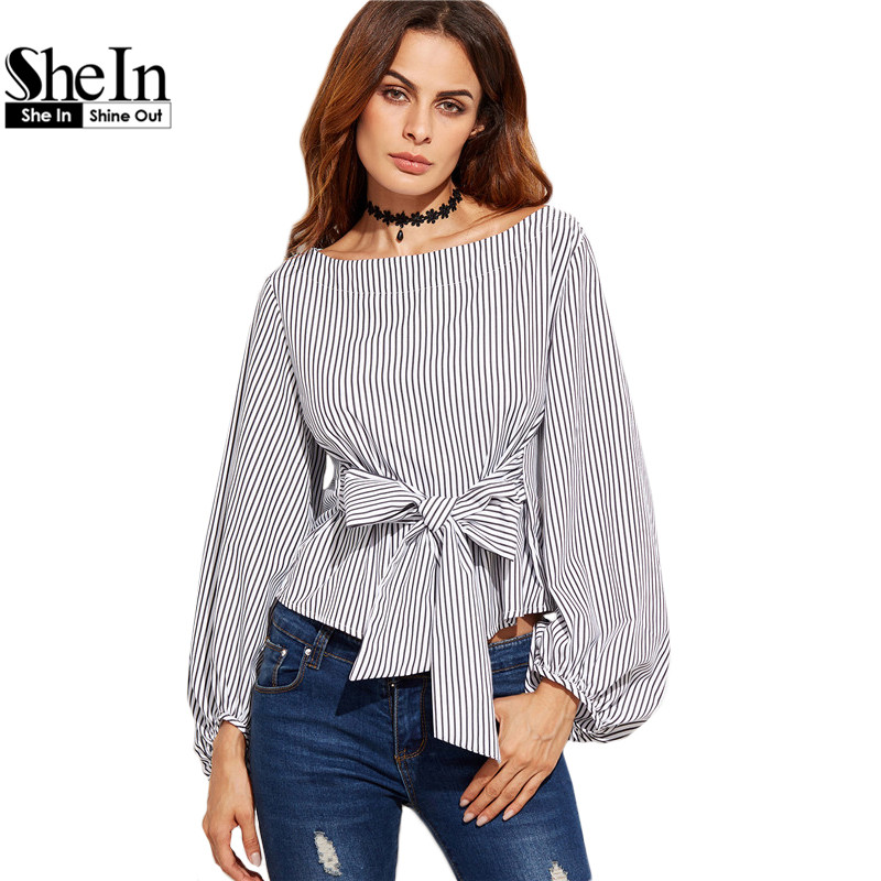 Buy shein women blouses black and white for Black and white striped long sleeve shirt women