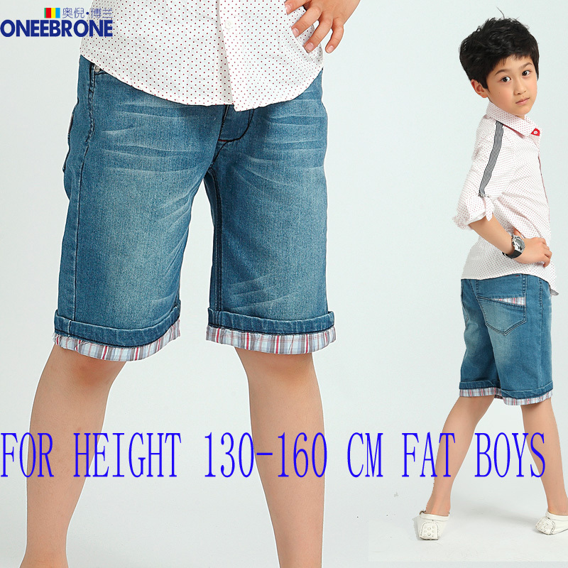 Summer FAT Boys Capri pants cropped fashionable cotton denim jeans junior kids teenager Leisure Casual Style - ONEEBRONE GARMENTS CO.,LTD store