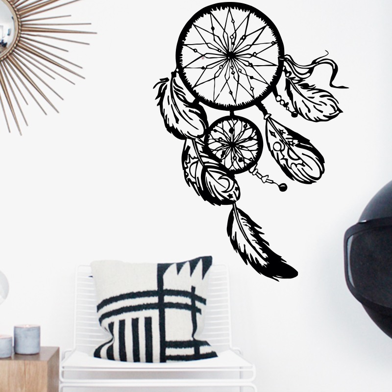 Dreamcatcher Wall Sticker Vinyl Home Decor Decals Feathers Night Symbol Indian Stickers Bedroom Livingroom Art Design Interior(China (Mainland))