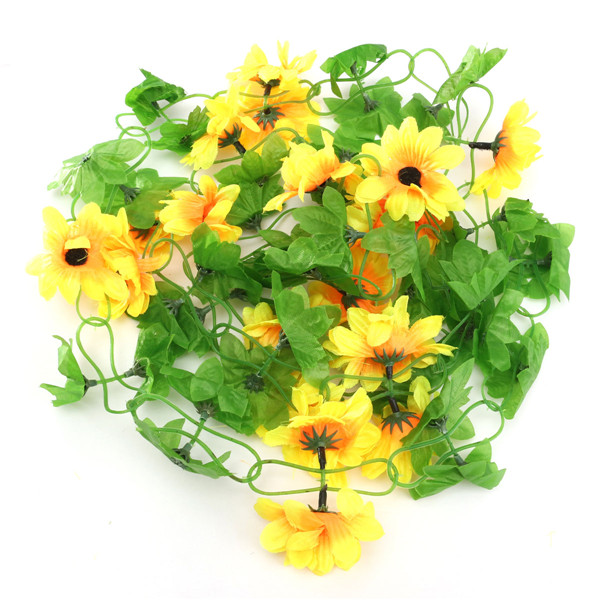 Lovely Sunflower Silk Flower Vine 240cm Long Wedding Home Garden Decor Garland With Ivy Leaf Flower