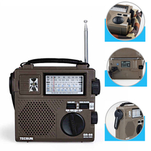 Portable TECSUN GREEN-88 Full-band radio FM/AM/SW Hand Crank Rechargeable Radio
