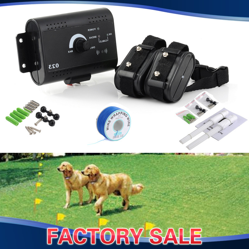 Electric In-Ground Dog Collar Fence Pet Train Control Device Shock Collar for One or Two Dogs Underground Fencing System(China (Mainland))