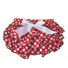2016 New Bloomer Tutu Ruffle Design Rose Red Dot Baby Short Girls Pants 0-24 Month Infant Newborn Diaper Cover Shorts Bottoms(China (Mainland))