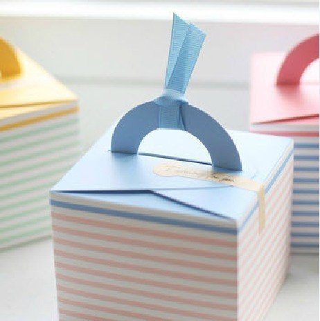 Pink Stripe hand Cake box for Handmade Products 9.5cmx9.5cmx8cm
