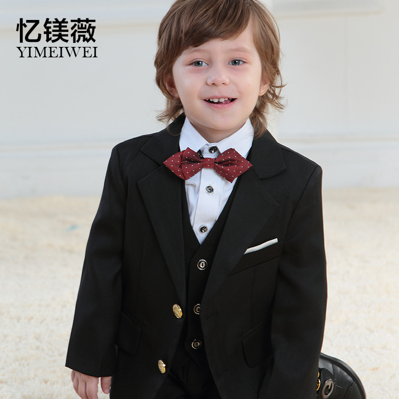 Retail 1 set 2015 New High quality Children clothing set suit kids blazers boys suits for wedding 5 pcs wedding party clothing(China (Mainland))