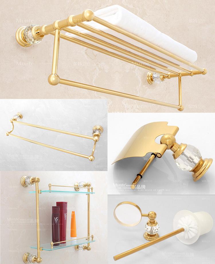 Luxury Gold Crystal Decoration Bathroom Hardware Hanger Set Towel Bar Rack Paper Holder Shelf Brush Sanitary Discount Package(China (Mainland))
