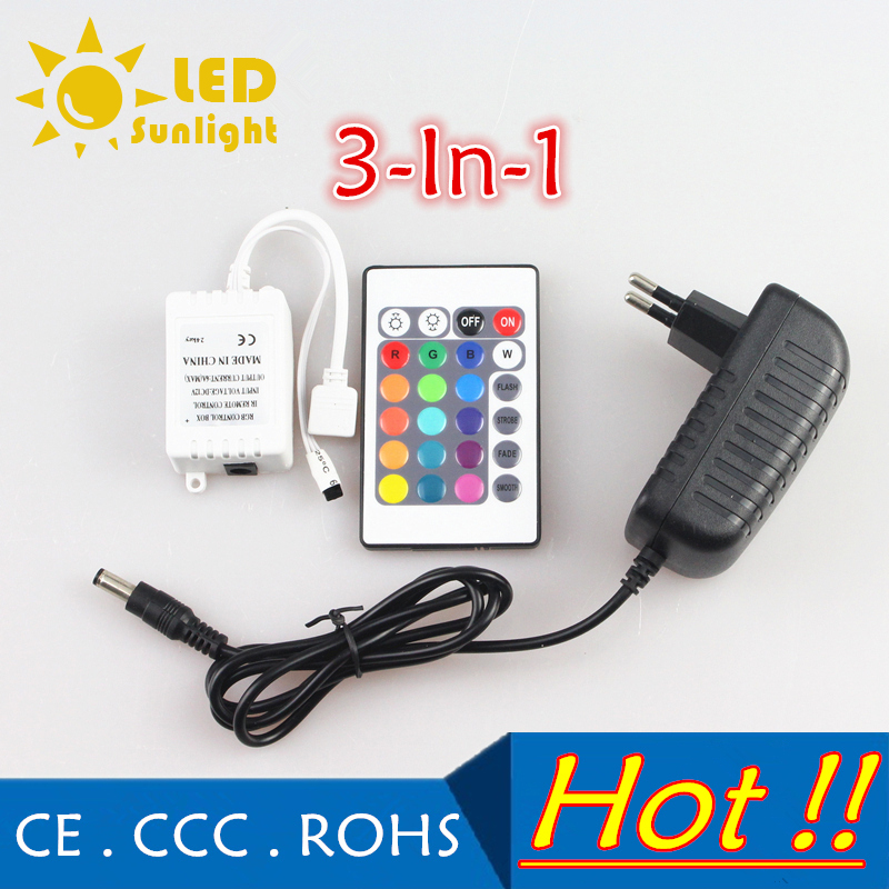 24 Key IR Remote Controller Wireless DC 12V 2A Power Supply adapter Connector For RGB LED strip Flexible light tape 5050 3528(China (Mainland))
