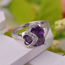 Amethyst Ruby Heart Cristallo Austriaco Ring For Women Vintage Style Jewelry Kristallschmuck Platinum Plated Anillos Ulove