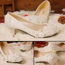 2015 new fashion lace high-heeled Women wedding shoes diamond white pearl bridal shoes with flat heels woman Pumps size 40