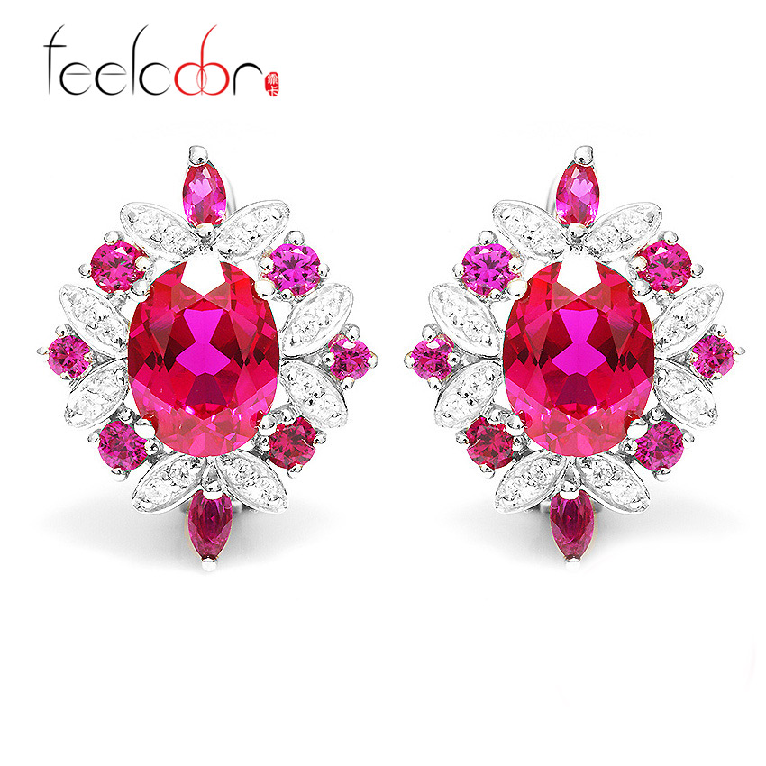 Feelcolor 6.5ct Pigeon Blood Ruby Clip Earrings Fashion Set Pure Solid 925 Sterling Silver Promotion Hot Luxury Free Shipping