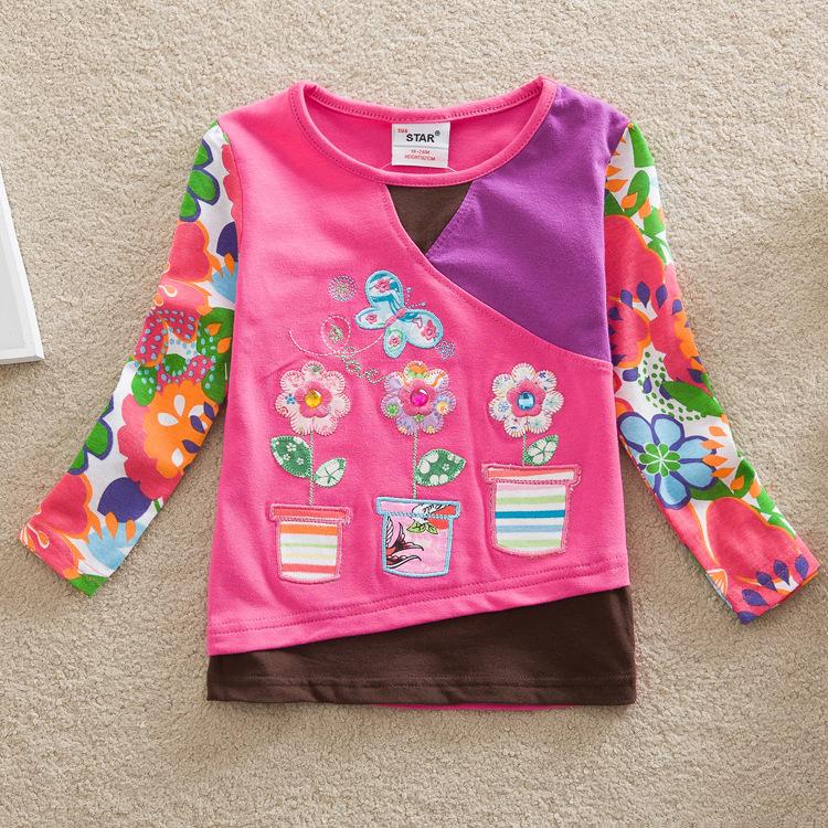 children kids girl t shirt 2016 new girls' fashion t shirts baby printed floral girl t shirts children clothing casual t shirts(China (Mainland))