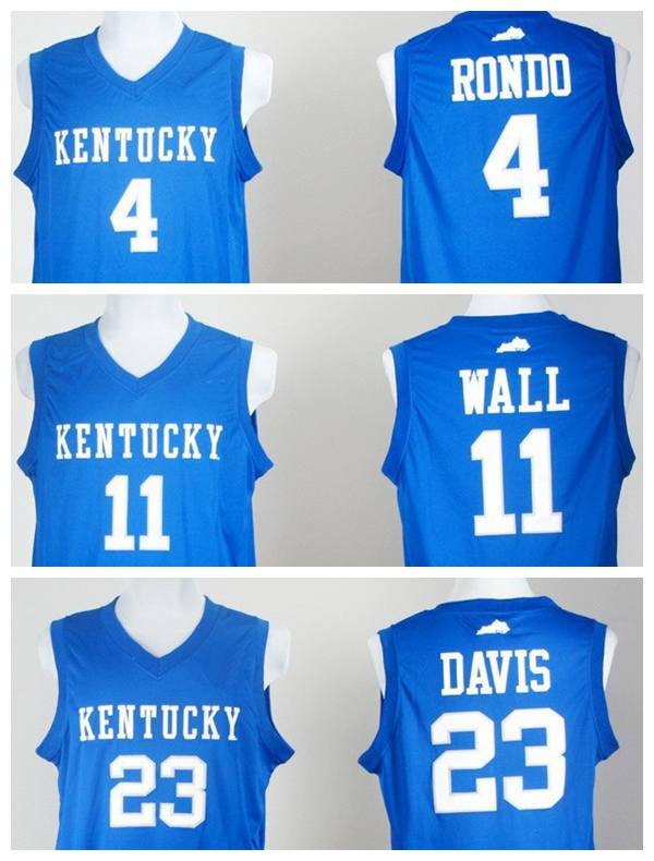 Men's Kentucky Wildcats College Jersey #4 Rajon Rondo #11 John Wall 23# Anthony Davis, Blue NCAA Basketball Jersey Size 44-54(China (Mainland))