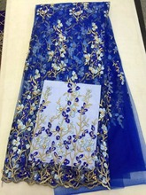 Buy 2017New arrival african lace fabrics high blue color cord beads rhinestones lace guipure lace fabric party dress LY1 for $63.72 in AliExpress store