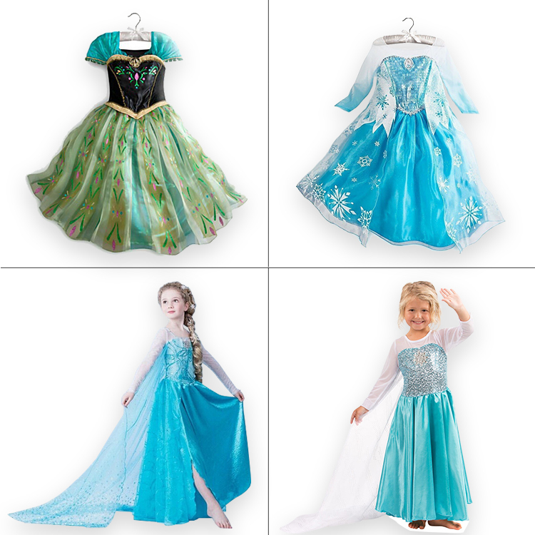 Retailer 2015 kids Dress Elsa Anna Snow Queen Cosplay Dress Summer Girl Dress Princess Halloween Costume for Children 3-8Y(China (Mainland))