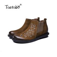 Tastabo yarım çizmeler kadınlar için Retro çizmeler bayan ayakkabıları el yapımı moda yumuşak süet deri Martin ayakkabı düz lastik çizmeler(China)
