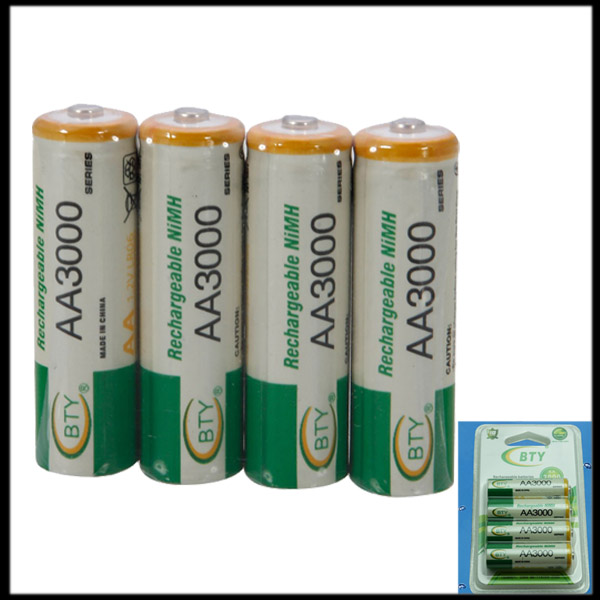 by DHL or EMS 500 pack Original BTY 1.2V 3000mAh AA Rechargeable NiMH Batteries(China (Mainland))