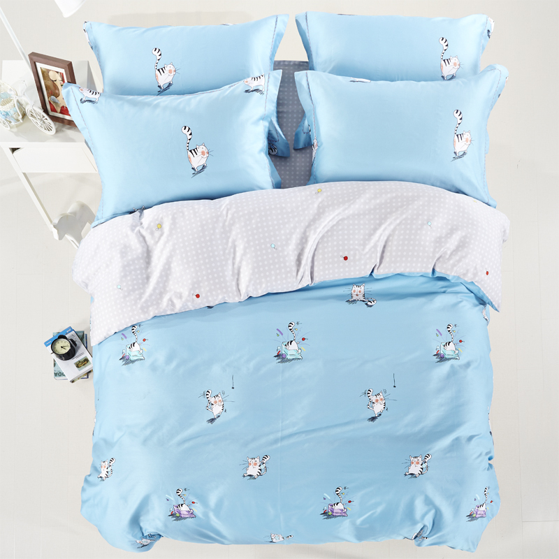 2016 new luxury cotton cat rabbit owl bedding set queen king size duvet cover - Dimension lit queen size ...