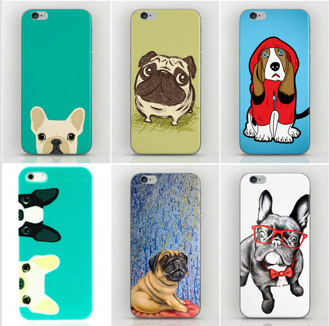 New Fashion Happy Perky Pug Dog Printed Mobile phone Cases Cover for Apple iPhone 4 4s 5 5s 5c 6 Samsung S3 S4 S5mini S6 S6edge(China (Mainland))