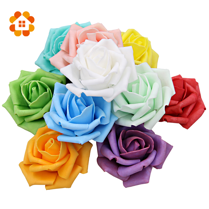 Diameter 6-7 Cm Artificial Foam Roses For Home And Wedding Decoration Flower Heads Kissing Balls For Weddings Multi Color(China (Mainland))