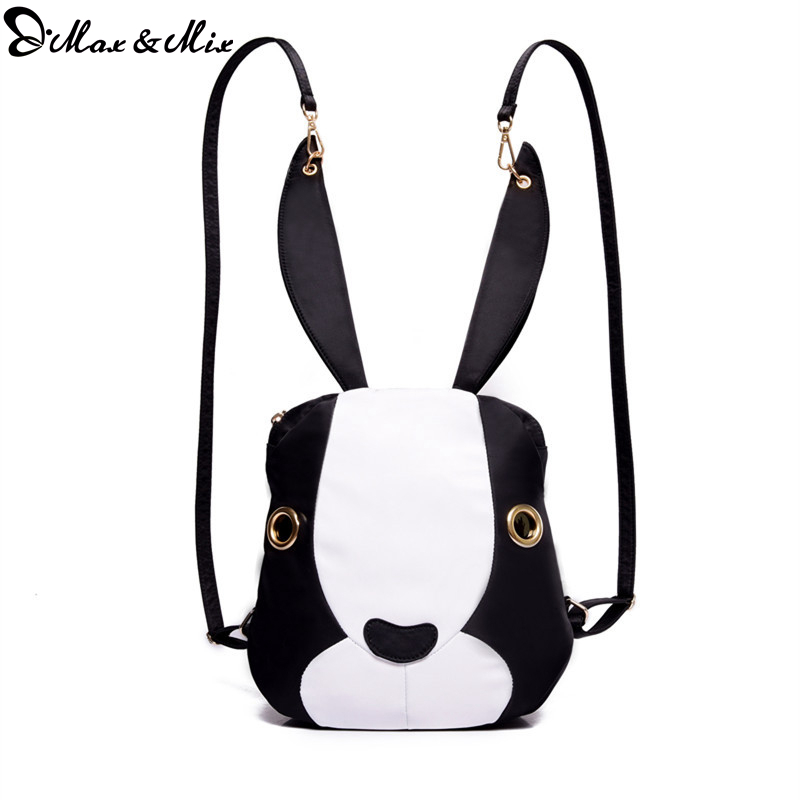 MAX&MIX New Design Women Shoulder Bags Fashion Backpack Cute Rabbit Shape Women Backpack Canvas School Bag For Girls Black White(China (Mainland))