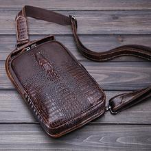 Genuine Pressure Crocodile Bag chest pack Men Leather Business Briefcase Men s Travel Bag Shoulder mobile