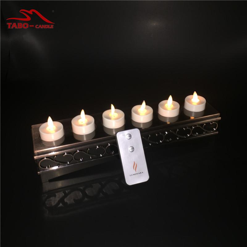 Luminara Rechargeable Flameless LED Tealight Candle for Home Decoration w/ Bronze Candle Holder Set of 6 Luminara Votive Candle(China (Mainland))