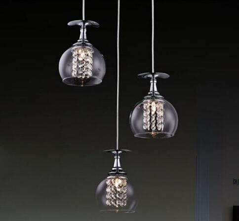Modern G4 glass shade crystal pendant lights restaurant pendant lamps Indoor Contemporary pendant lighting fixtures(China (Mainland))