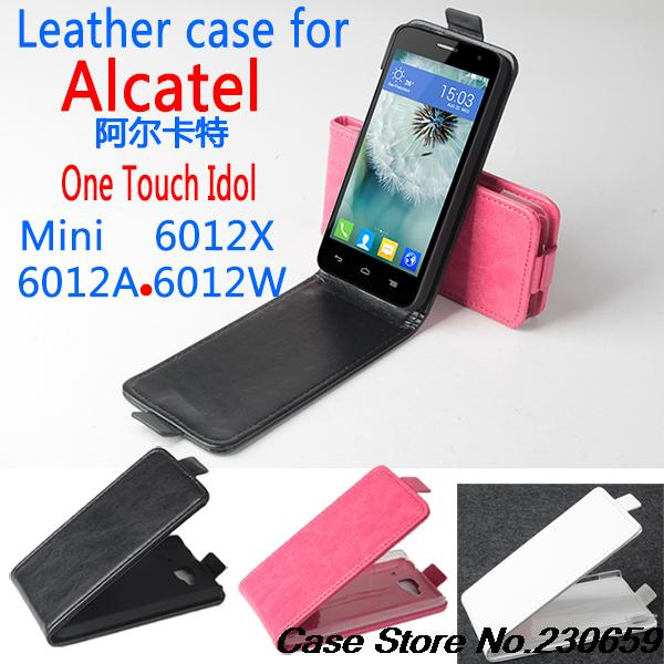 100pcs/lot for TCL S530 Flip Cover Case for Alcatel One Touch Idol mini 6012X 6012A 6012W 6012D Luxury Up and Down Flip Pouch