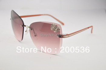 frameless big frame women's sunglasses brand name, decorations butterfly,s144