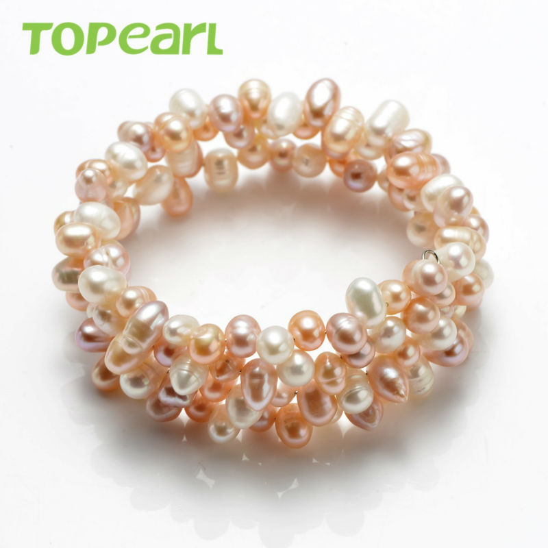 Topearl Jewelry White, Pink, Light Purple Freshwater Pearls Bangle FBR155(China (Mainland))