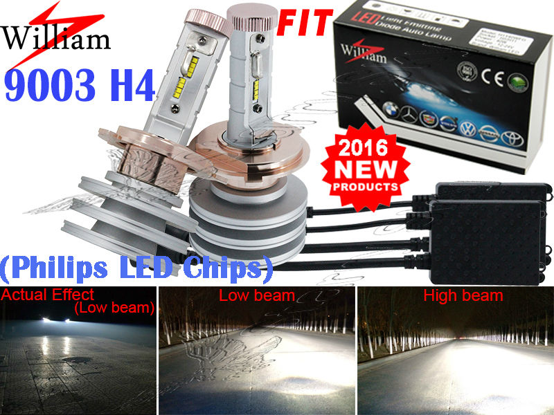 2x 9003 H4 LED Headlight Bulb Hi/Lo New Philips Chips Xenon White High Power 100W For Ford Focus SVT 2000-2004(China (Mainland))