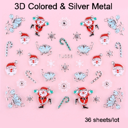 12 Designs Christmas Nail Art Stickers 3D Colored & Silver Metal Sticker 36 sheets/lot Free Shipping(China (Mainland))