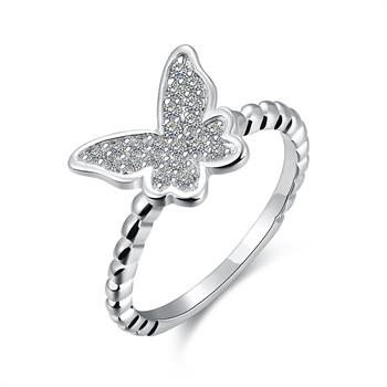 Free Shipping online shopping india silver rings Insets Butterfly opal bijouterie SMTR207(China (Mainland))