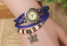 Venta directa venta nuevo retro tejidas pulsera de cuero de becerro para mujer de moda reloj 6 de mariposa de Color