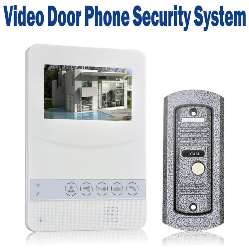 Video Door Phone Wired 4.3 inch TFT LCD Doorbell Monitor with 700 TVL IR Camera Metal Outdoor Video Intercom Unit(China (Mainland))