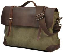 2015 Fashion Military Canvas Leather Briefcase Men Genuine Leather Messenger Bag Shoulder bag for men Crossbody Bag Tote Handbag(China (Mainland))