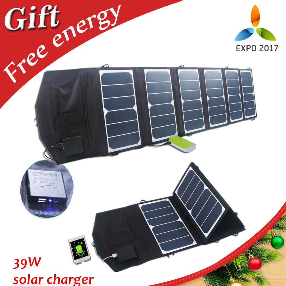 Free shipping 39w 18v/5v Dual output waterproof outdoor foldable folding solar panel charger external 12v battery device charger(China (Mainland))