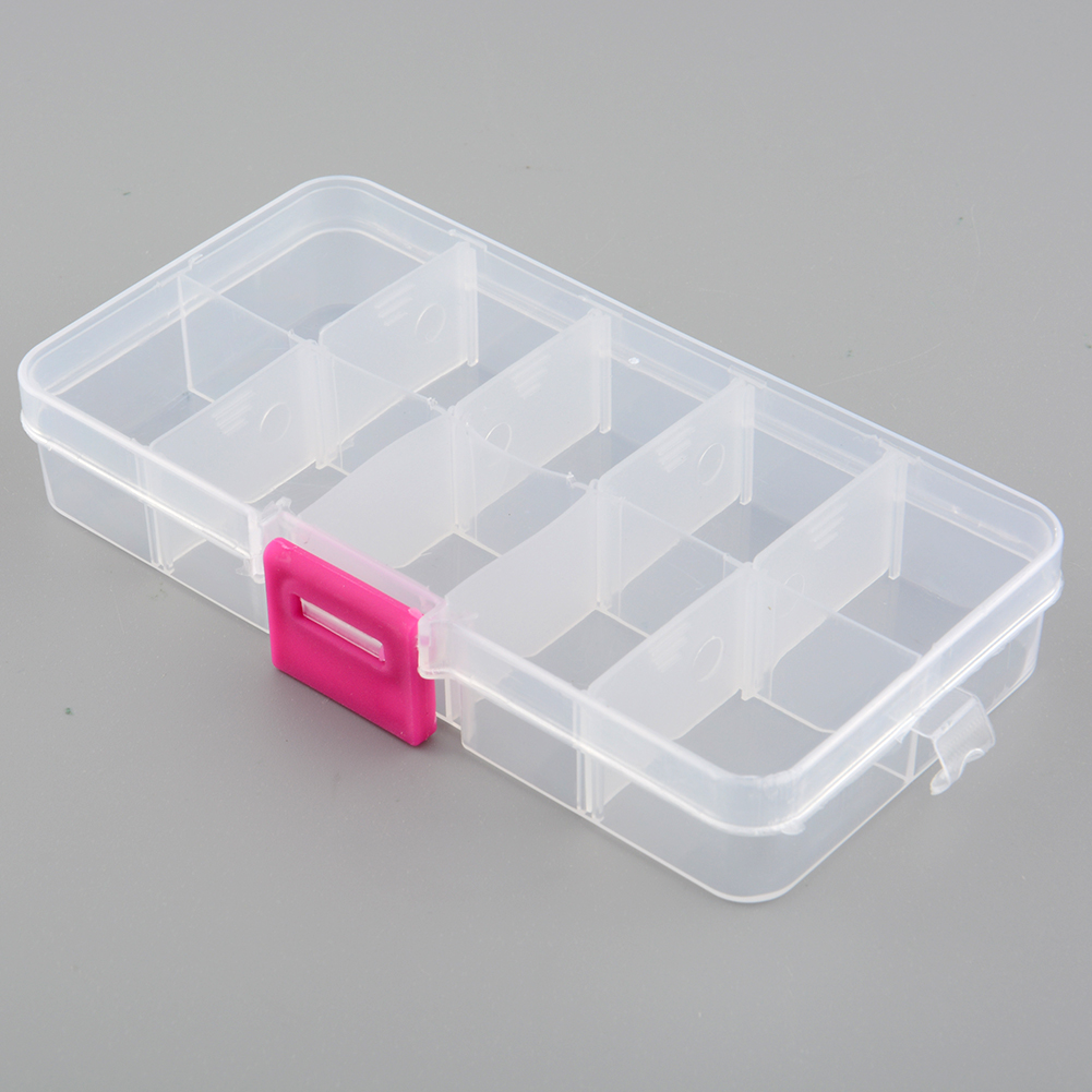 New plastic 10 slots compartment adjustable jewelry for Craft storage boxes plastic