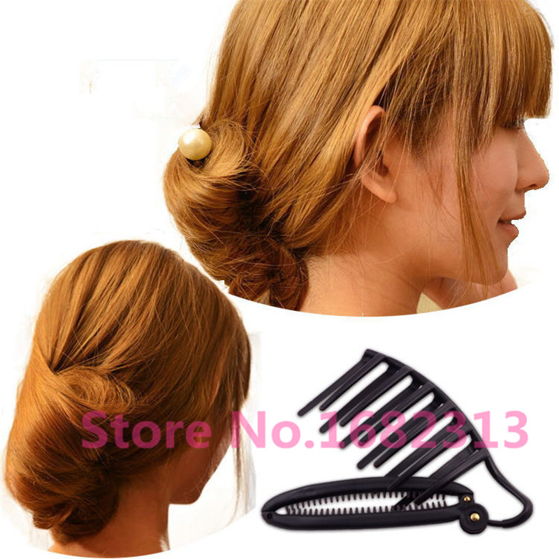Women DIY Hair Styling Updo Bun Comb Clip Tool Formal French Twist Maker Holder Free Shipping(China (Mainland))