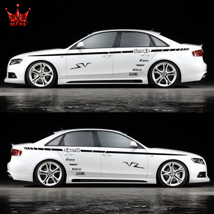 New 2014 Brief Line with words car body styling,personality car side decor stickers(left+right) for VW JETTA/CRUZE/KIA and so on<br><br>Aliexpress