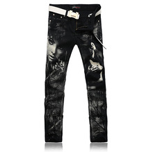 Individual Design Fashion Male Colored Drawing Straight Jeans Men's Denim Movie Characters Pattern Printed Jeans Free Shipping