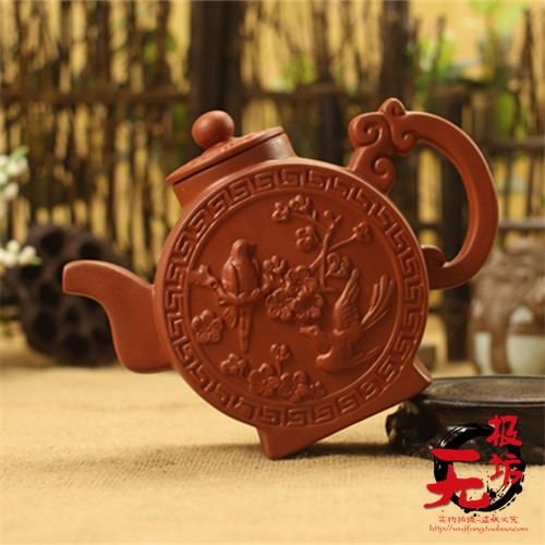 2015 Free Shipping Magpie Feature Chaozhou Purple sands Handwork Relief Teapot Kung fu tea 320ml Red