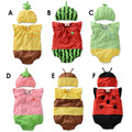 Hot 2015 Baby Rompers Girl Clothing Set Fruit Romper Hat Infant Baby Boys Clothes Babies Rompers