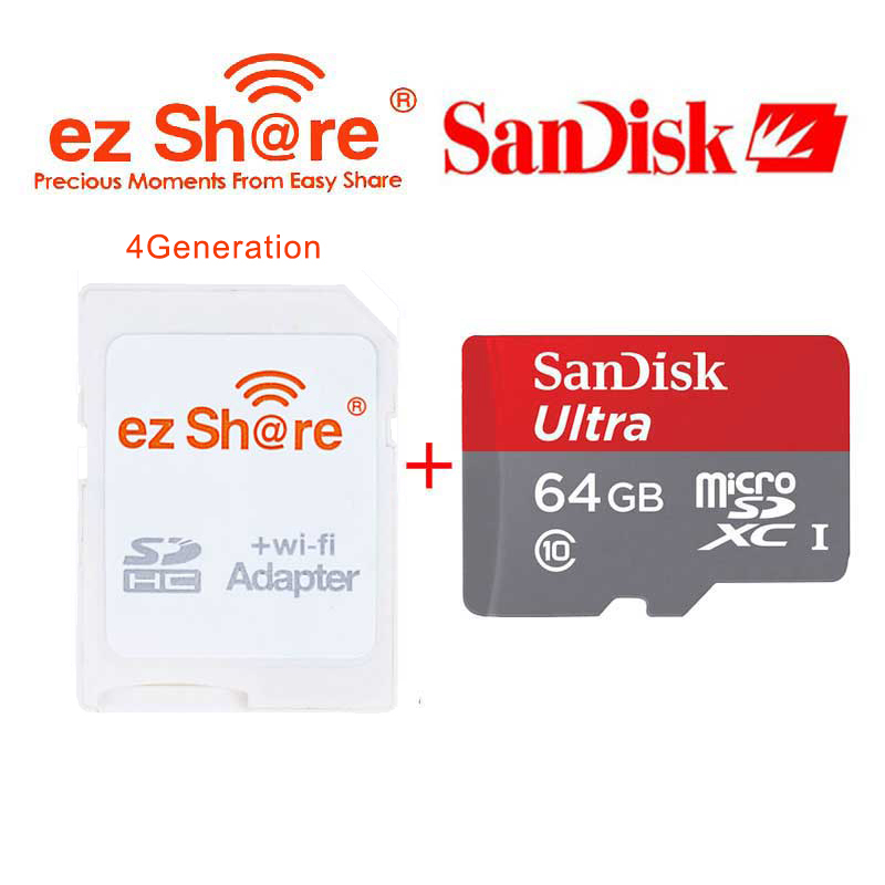 EZ Share Wifi SD Card Adapter White Wireless Reader + Sandisk Micro SD Card 64GB TF Memory Cards Class10 80Mb/s for Cameras(China (Mainland))