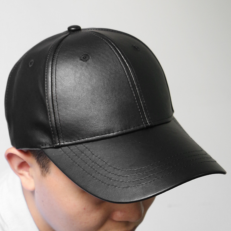 Black Baseball Cap Adjustable Fitted Hats Unisex Faux Leather Ball Caps High Quality Pu Leather Mens Ladies Leather Caps(China (Mainland))